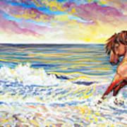Pawing The Surf Print by Jenn Cunningham
