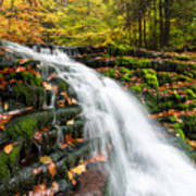 Pennsylvania Autumn Ricketts Glen State Park Waterfall Print by Mark VanDyke
