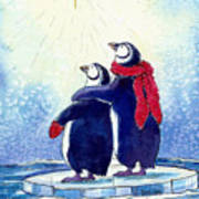 Penquins An Christmas Star Print by Peggy Wilson
