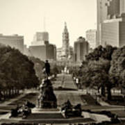 Philadelphia Benjamin Franklin Parkway In Sepia Print by Bill Cannon