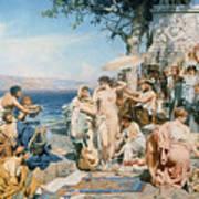 Phryne At The Festival Of Poseidon In Eleusin Print by Henryk Siemieradzki