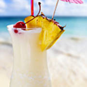 Pina Colada Cocktail On The Beach Print by Elena Elisseeva