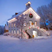 Pioneer Church At Christmas Time Print by Utah Images