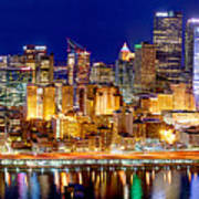 Pittsburgh Pennsylvania Skyline At Night Panorama Print by Jon Holiday