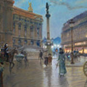Place De L Opera In Paris Print by Georges Stein