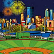 Pnc Park Fireworks Print by Ron Magnes