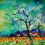 Poppies And Appletrees In Blossom Print by Pol Ledent
