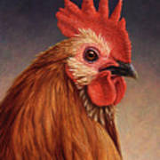 Portrait Of A Rooster Print by James W Johnson