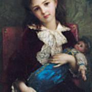 Portrait Of Catherine Du Bouchage Print by Antoine Auguste Ernest Hebert
