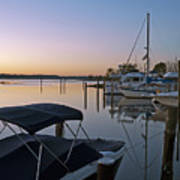 Potomac River At Sunrise Belle Haven Marina Alexandria Virginia Print by Brendan Reals