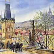Prague Charles Bridge Spring Print by Yuriy  Shevchuk