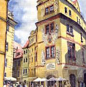 Prague Karlova Street Hotel U Zlate Studny Print by Yuriy  Shevchuk