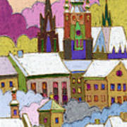Prague Old Roofs Prague Castle Winter Print by Yuriy  Shevchuk