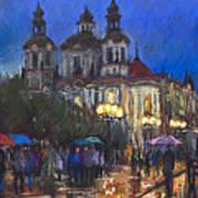 Prague Old Town Square St Nikolas Ch Print by Yuriy  Shevchuk