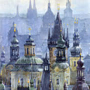 Prague Towers Print by Yuriy  Shevchuk