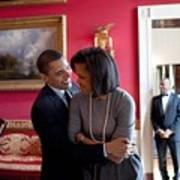President Obama Hugs First Lady Print by Everett