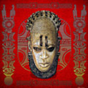 Queen Mother Idia - Ivory Hip Pendant Mask - Nigeria - Edo Peoples - Court Of Benin On Red Leather Print by Serge Averbukh