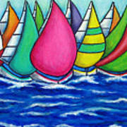 Rainbow Regatta Print by Lisa  Lorenz