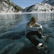 Rebecca Quinton Laces Up Her Ice Skates Print by Michael S. Quinton