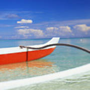 Red And White Canoe Print by Dana Edmunds - Printscapes