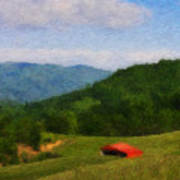 Red Barn On The Mountain Print by Teresa Mucha