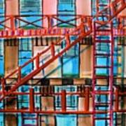 Red Fire Escape Print by John  Williams