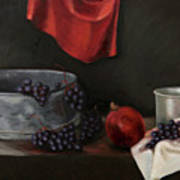 Red Grapes Print by Raimonda Jatkeviciute-Kasparaviciene