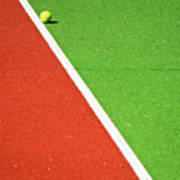 Red Green White Line And Tennis Ball Print by Silvia Ganora