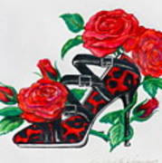 Red Leopard Roses Print by Karon Melillo DeVega