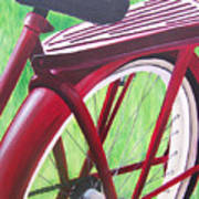 Red Super Cruiser Bicycle Print by Charlene Cloutier