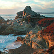 Ribera Beach Sunset Carmel California Print by Charlene Mitchell
