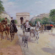 Riders And Carriages On The Avenue Du Bois Print by Georges Stein
