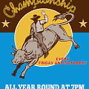Rodeo Cowboy Riding  A Bull Bucking Print by Aloysius Patrimonio