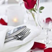 Romantic Dinner Setting With Rose Petals Print by Elena Elisseeva