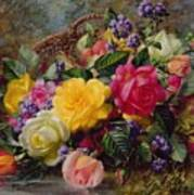 Roses By A Pond On A Grassy Bank  Print by Albert Williams