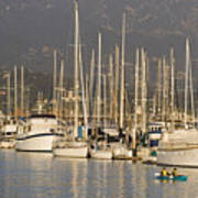 Sailboats Docked In The Santa Barbara Print by Rich Reid