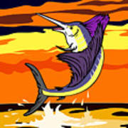 Sailfish Jumping Retro Print by Aloysius Patrimonio