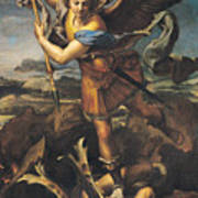 Saint Michael Overwhelming The Demon Print by Raphael