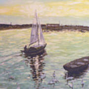 Saling Home At Sunset Print by Dan Bozich