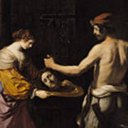 Salome Receiving The Head Of St John The Baptist Print by Giovanni Francesco Barbieri