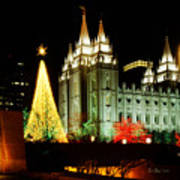 Salt Lake Temple Christmas Tree Print by La Rae  Roberts