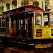 San Francisco Cable Car . Texture Print by Wingsdomain Art and Photography