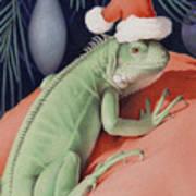 Santa Claws - Bob The Lizard Print by Amy S Turner