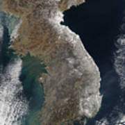 Satellite View Of Snowfall Along South Print by Stocktrek Images
