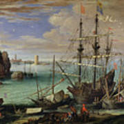 Scene Of A Sea Port Print by Paul Bril