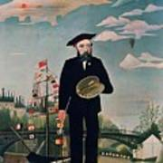 Self Portrait From Lile Saint Louis Print by Henri Rousseau
