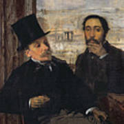 Self Portrait With Evariste De Valernes Print by Edgar Degas