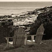 Sepia Seaside Retreat Print by Lone  Dakota Photography