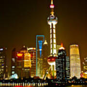 Shanghai By Night Print by Dorota Nowak