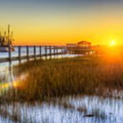 Shem Creek Sunset - Charleston Sc  Print by Drew Castelhano